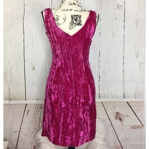 Betsey Johnson Crushed Velvet Hot Pink Dress